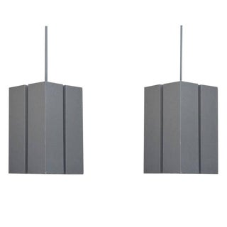 Pair of Brutalist Hanging Lights by Marvin Electric For Sale