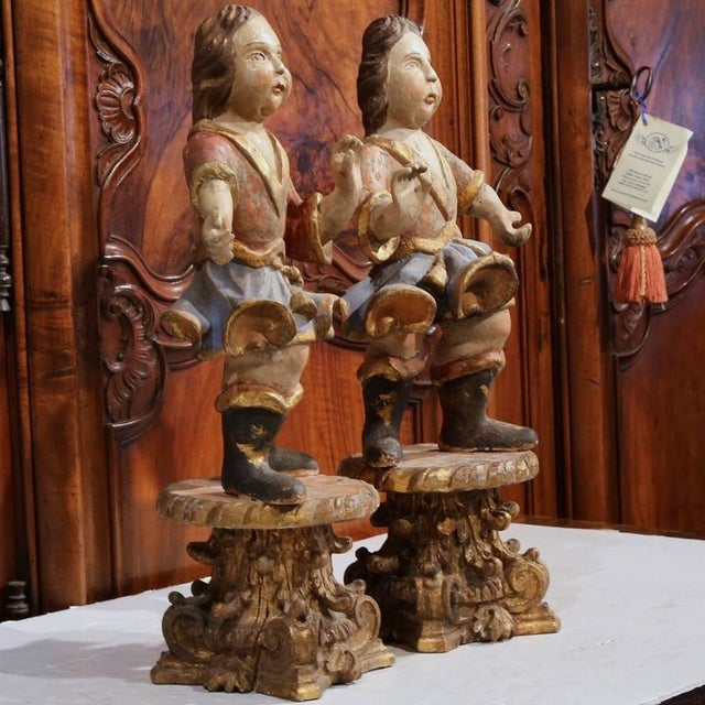18th Century Italian Carved Polychrome Figures on Wooden Gilded Stands - a Pair For Sale - Image 5 of 6