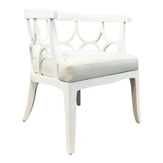 Worlds Away Modern White Lacquer Campbell Lounge Chair For Sale