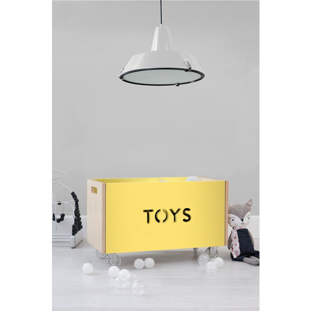 Modern Nico & Yeye Toy Box Chest on Casters Birch Wood Veneer Yellow For Sale - Image 3 of 4
