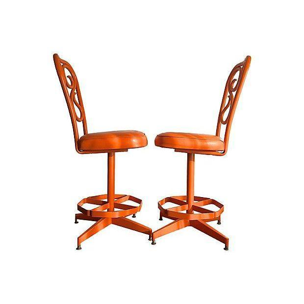 Retro 1970's Orange Swivel Stools - A Pair - Image 3 of 3