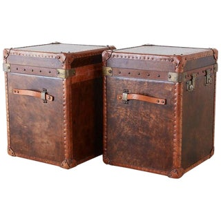 French Leather Hat Trunks After Louis Vuitton - a Pair For Sale