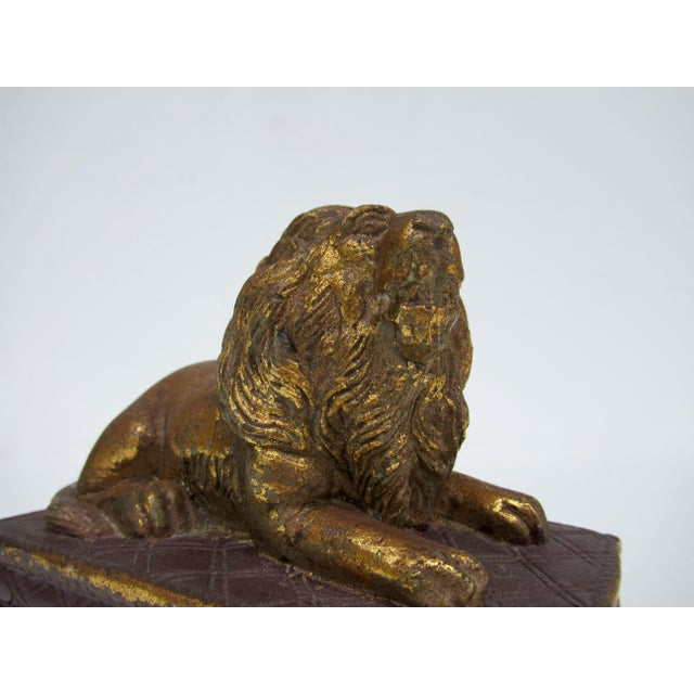 C.1980s Gilt Carved Lion Accent Piece / Paperweight on Attached Pedestal Scroll Base For Sale - Image 11 of 13