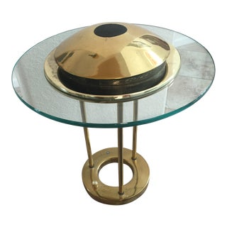 George Kovacs Brass Saucer Shape Table Lamp For Sale