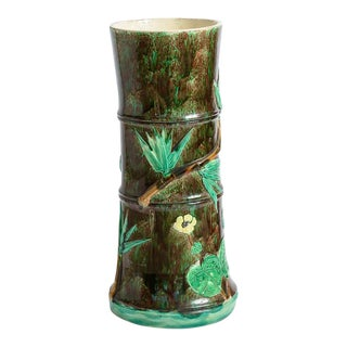 Majolica Bamboo & Florals Umbrella Stand by J.Holdcroft, C.1860-1890 For Sale