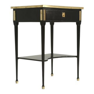 Antique French Louis XVI Style End or Side Table in an Ebonized Mahogany Finish