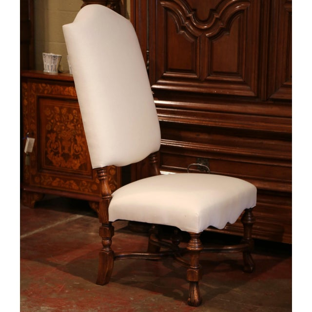 2010s Large French Carved Walnut Dining Room Side Chairs With Arched Top - Set of 10 For Sale - Image 5 of 13