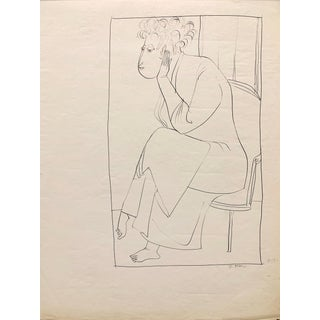 """Donald Stacy """"Morning Robe"""" 1951 Ink Mid Century Drawing For Sale"""
