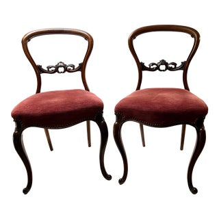 Late 19th Century Ballon Back Victorian Chairs - a Pair For Sale