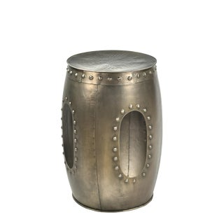 Drum Shaped Side Table for Living Room, Smaller Spaces, Living Room, Bedroom, Contemporary Accent Home Furniture- Nickel Light Antique For Sale