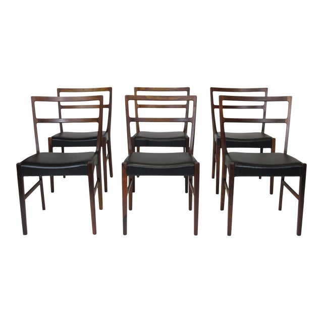 Johannes Andersen for Bernhard Pedersen & Sons Rosewood Dining Chairs - Set of 8 For Sale