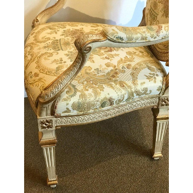 Pair of Louis XVI Style Carved Giltwood Bergère Chairs With Scalamandre Fabric For Sale - Image 11 of 13