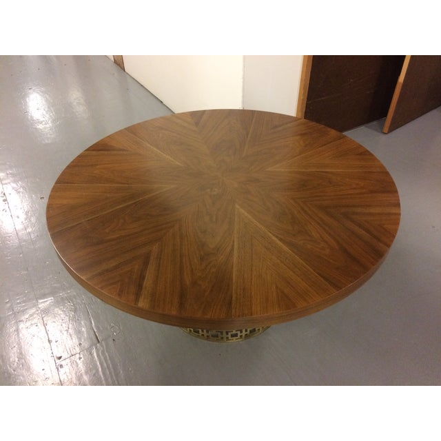 Modern Jonathan Adler Walnut Table With Brass Base For Sale - Image 3 of 5