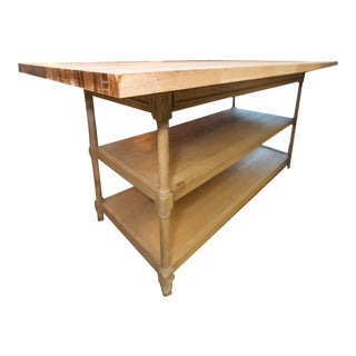 Rustic Restoration Hardware Kitchen Island Weathered Oak Double Washstand For Sale