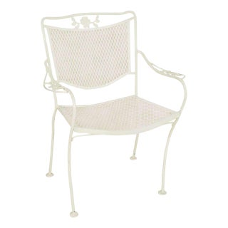 1940s Woodard Outdoor/Patio Scrolling Floral Pattern Mesh Armchair For Sale