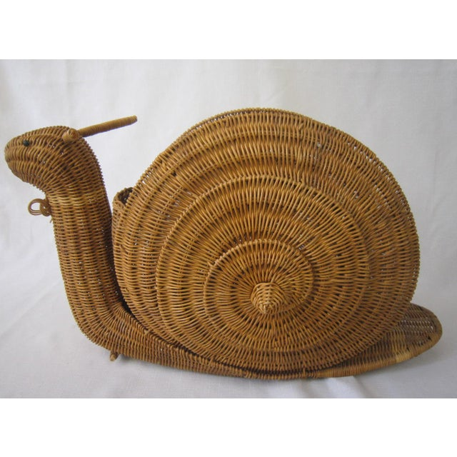 Boho Chic Vintage Wicker Snail Basket For Sale - Image 3 of 8
