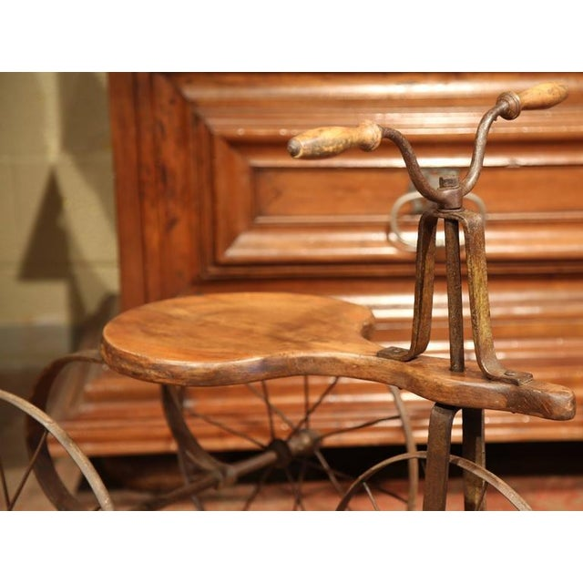19th Century French Iron and Wood Tricycle in Wonderful Working Condition For Sale - Image 4 of 8