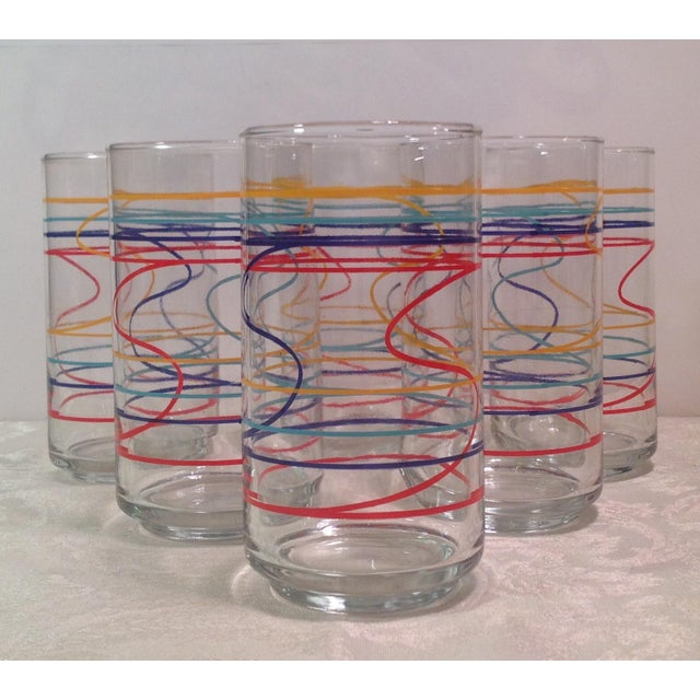 Mid-Century Modern set of 6 colorful glasses - red, blue, turquoise, citrine yellow - looks like streamers. Nice set!