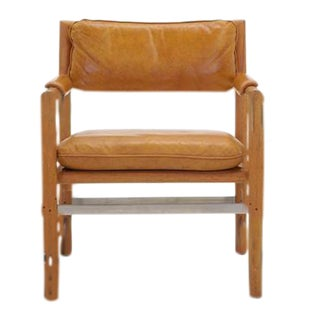 Leather, Mahogany and Steel Armchair by Edward Wormley for Dunbar For Sale