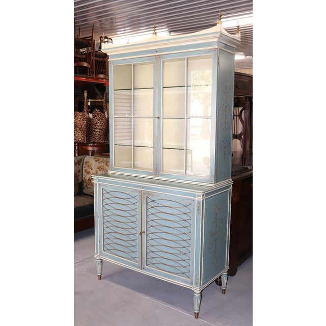 English Regency Style Paint Decorated China Cabinet For Sale - Image 13 of 13
