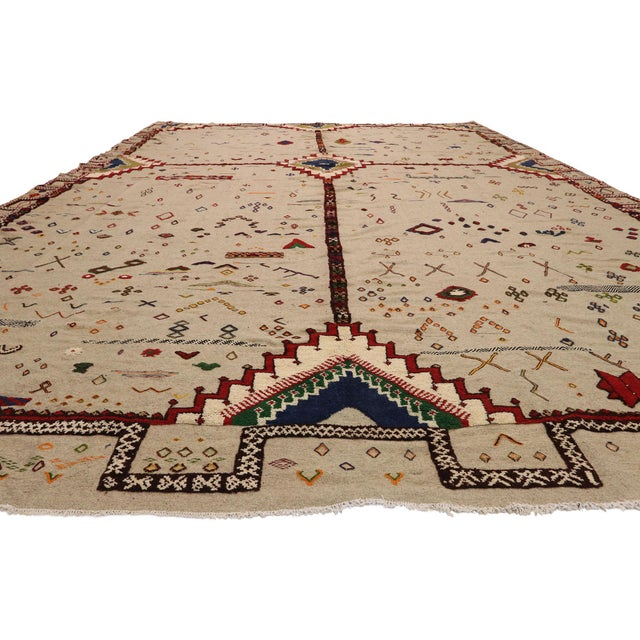 Islamic Vintage Berber Moroccan Flat-Weave Kilim Glaoui Rug - 12'10 X 17'08 For Sale - Image 3 of 9