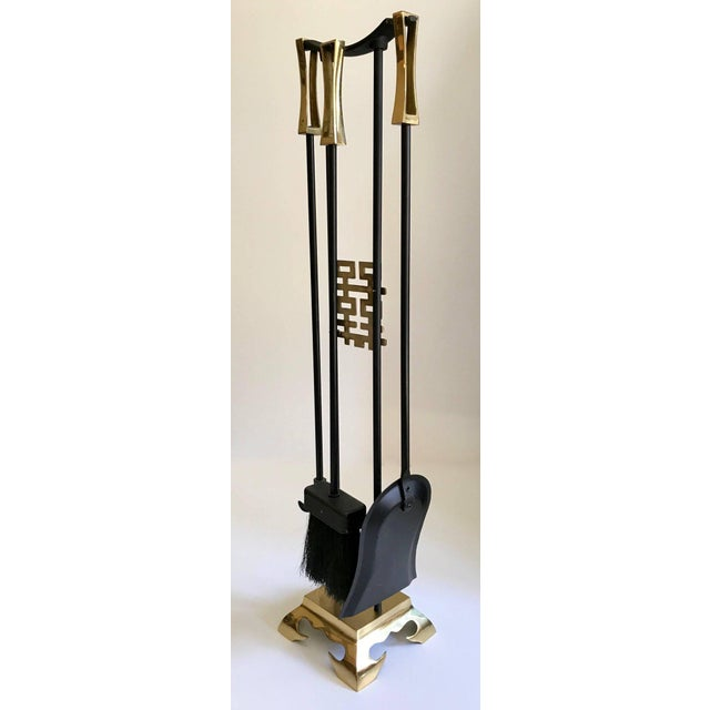 Asian Modern Brass and Iron Fireplace Tool Set For Sale - Image 11 of 13