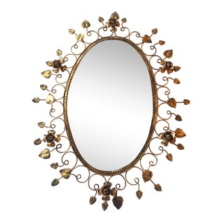 French Gold Rose Leaf Oval Mirror For Sale