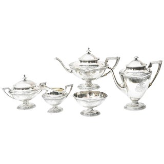 Sterling Tea and Coffee Service, American, Elegant and Well Chased For Sale