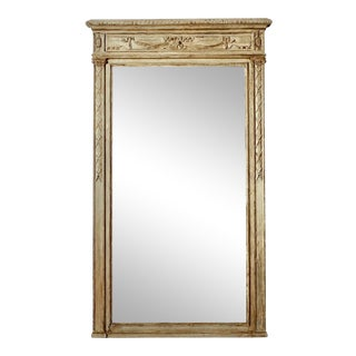 Extra Large English Carved Swag Painted Wall Mirror For Sale