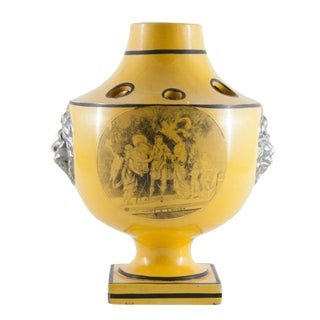 19th Century Antique French Choisez Bulb Pot in Yellow Glaze For Sale