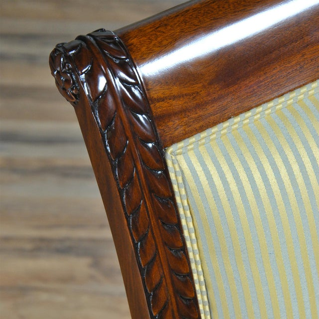 Traditional Empire Upholstered Side Chair For Sale - Image 3 of 8
