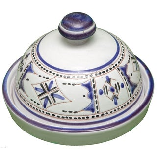 Moroccan Handmade Blue Ceramic Lidded Bowl