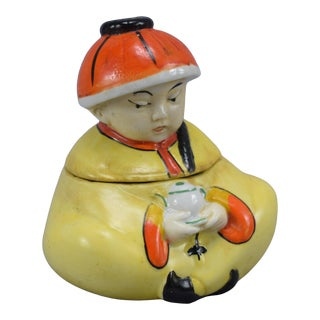 1930s Chinese Figural Inkwell and Quill Holder For Sale