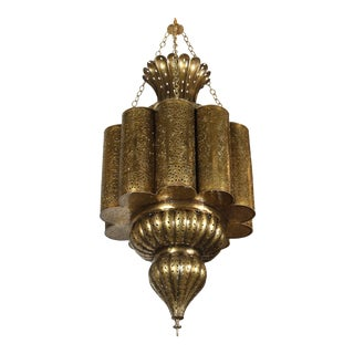 Moorish Moroccan Brass Chandelier For Sale