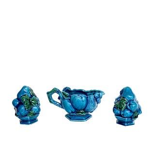 Vintage Aqua Blue & Teal Grapes Salt & Pepper Shakers & Ceramic Gravy Boat - Set of 3 For Sale