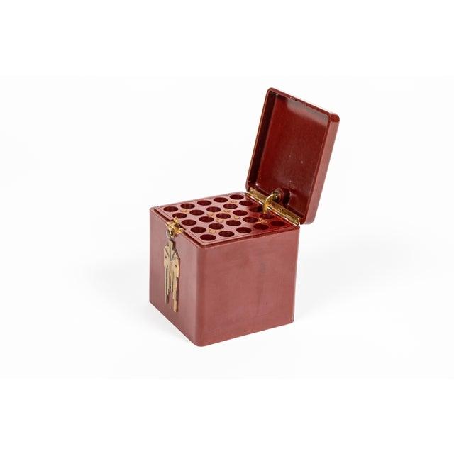 Burgundy Vintage Demley Art Deco Red Cigarette Box For Sale - Image 8 of 10