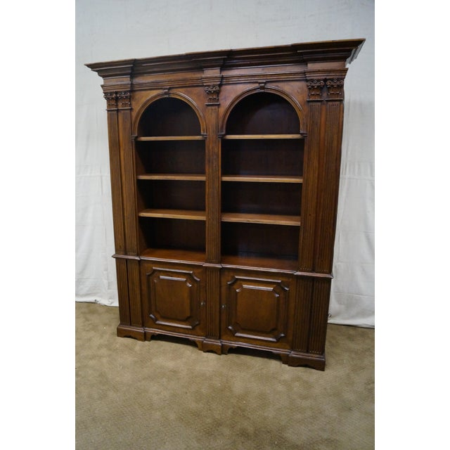 Store Item #: 9980-ax Large Italian Walnut Architectural Bookcase w/ Corinthian Columns AGE/COUNTRY OF ORIGIN: Approx 30...