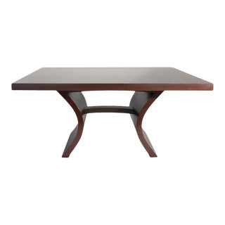Paris Black Walnut Dining Table With Bentwood Base For Sale