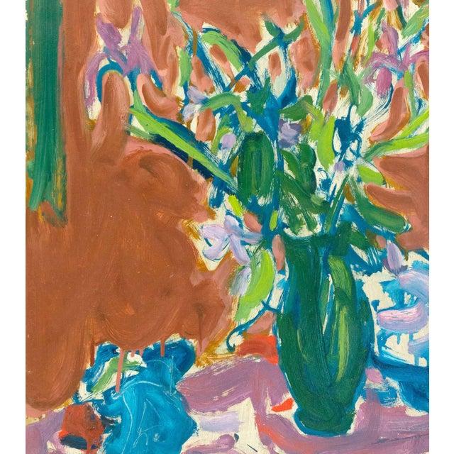 Mid-Century Modern Victor DI Gesu Still Life of Irises 1955 For Sale - Image 3 of 7