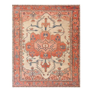 Late 19th Century Antique Serapi Rug - 9′4″ × 11′6″ For Sale