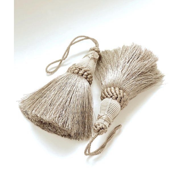 French Country Pair of Key Tassels in Pewter With Looped Ruche Trim For Sale - Image 3 of 11