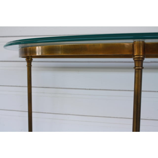 Brass & Glass Demi-Lune Table - Italian For Sale - Image 10 of 12