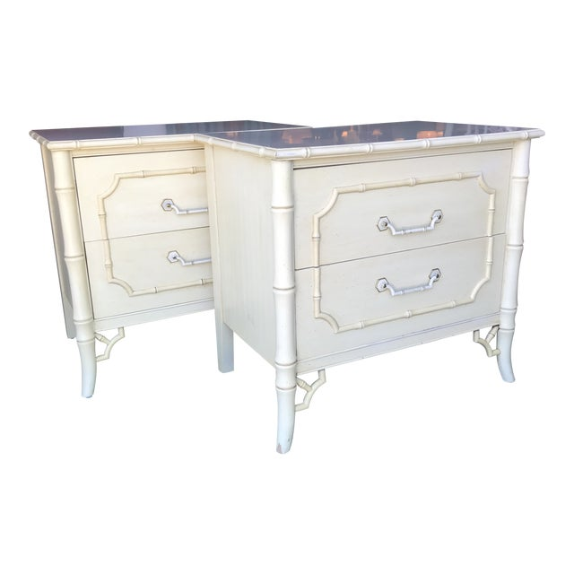 Vintage Dixie Faux Bamboo Fretwork Nightstands-A Pair For Sale