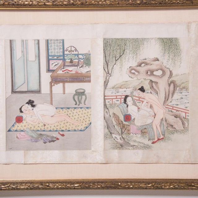 Drawing/Sketching Materials Framed 19th Century Chinese Erotic Pillow Book For Sale - Image 7 of 9