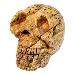 Vintage Stone Carved Marble Human Skull For Sale