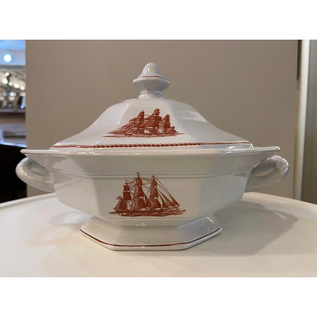 English Wedgwood Flying Cloud Rust Octagonal Covered Vegetable Tureen For Sale - Image 3 of 4