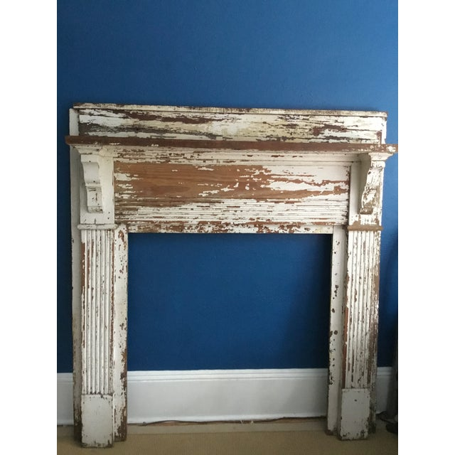Antique Shabby Chic Wooden Mantel with Shelf For Sale - Image 10 of 11