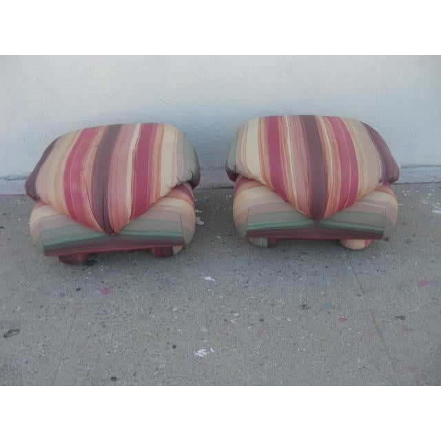 Textile 1980s Vintage Upholstered Poofs- A Pair For Sale - Image 7 of 13
