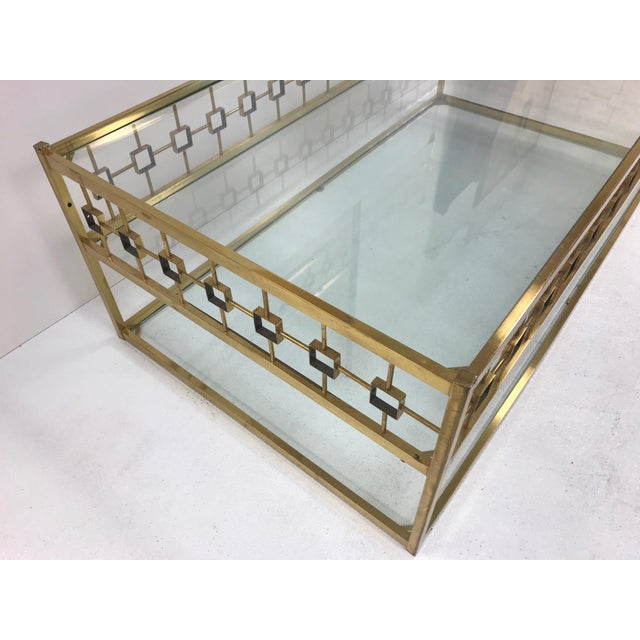1960s Three-Tier Maison Jansen Style Brass and Glass Coffee Table For Sale - Image 5 of 7