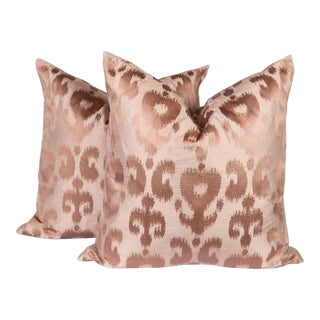 Blush Pink Silk Ikat Pillows, a Pair For Sale